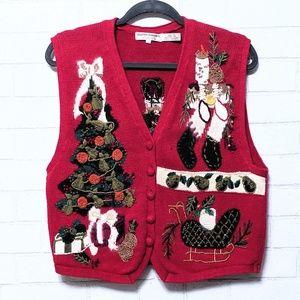 Vintage Holiday Christmas Nutcracker Vest Large